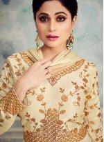 Silk Desinger Anarkali Salwar Kameez in Off White