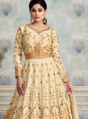 Silk Desinger Anarkali Salwar Kameez in Off White