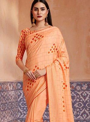 Silk Digital Print Orange Classic Saree