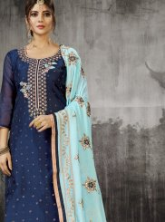 Silk Embroidered Churidar Designer Suit in Blue