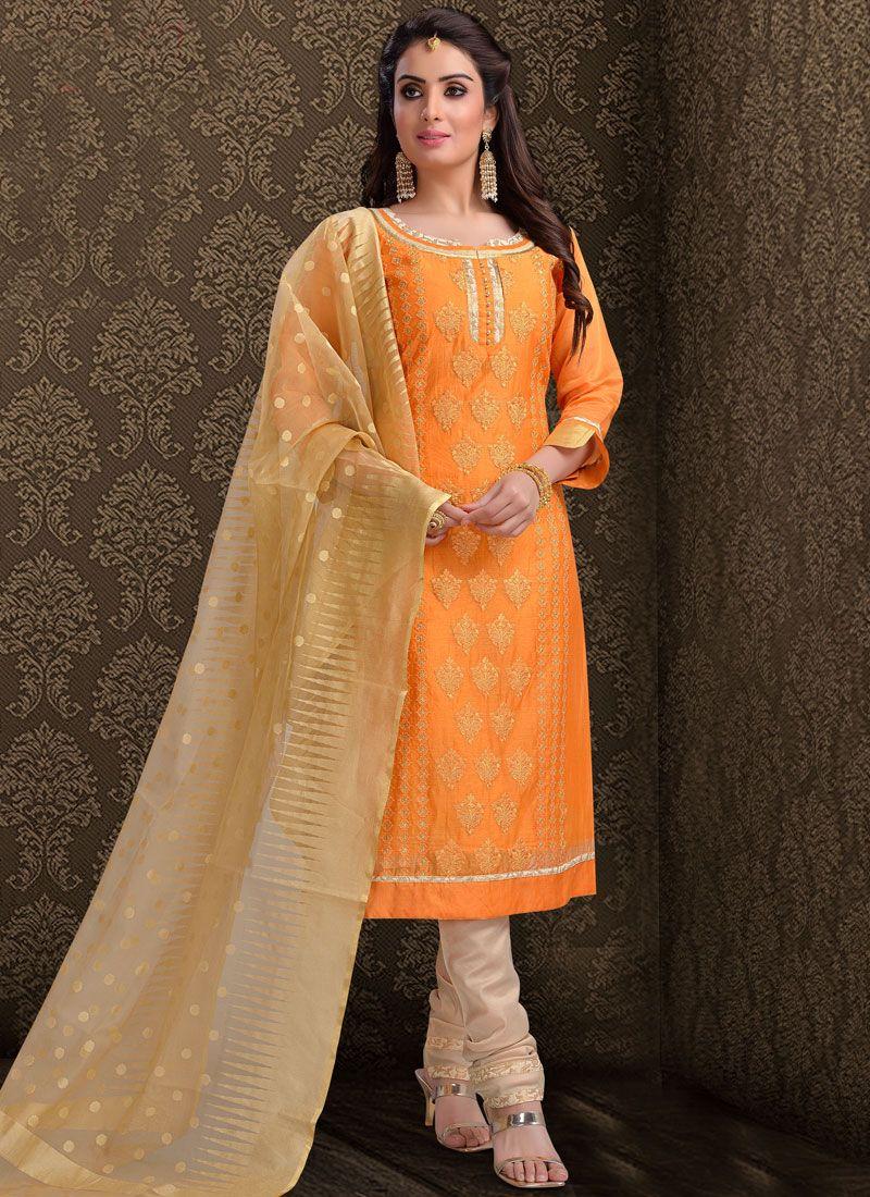 Silk Embroidered Churidar Suit in Orange