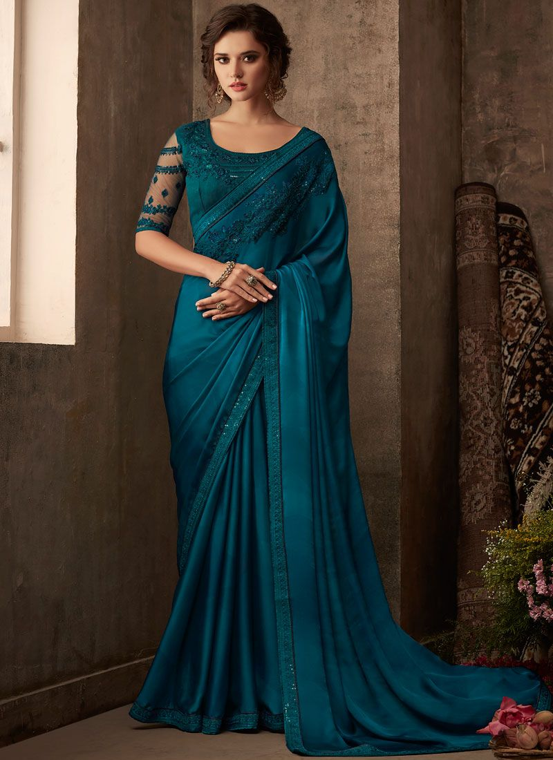 Silk Embroidered Classic Saree in Teal