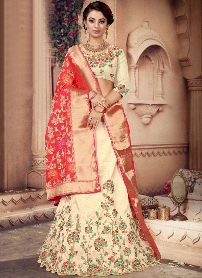 Silk Embroidered Designer Lehenga Choli in Cream