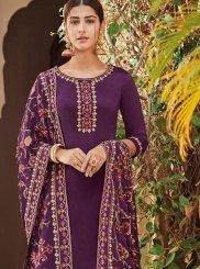 Silk Embroidered Designer Palazzo Suit in Purple