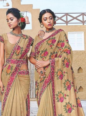 Silk Embroidered Designer Traditional Saree in Beige