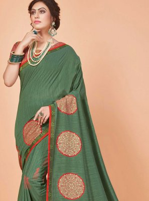 Silk Embroidered Green Trendy Saree