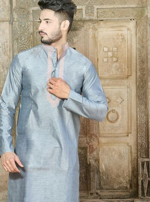 Silk Embroidered Grey Kurta Pyjama