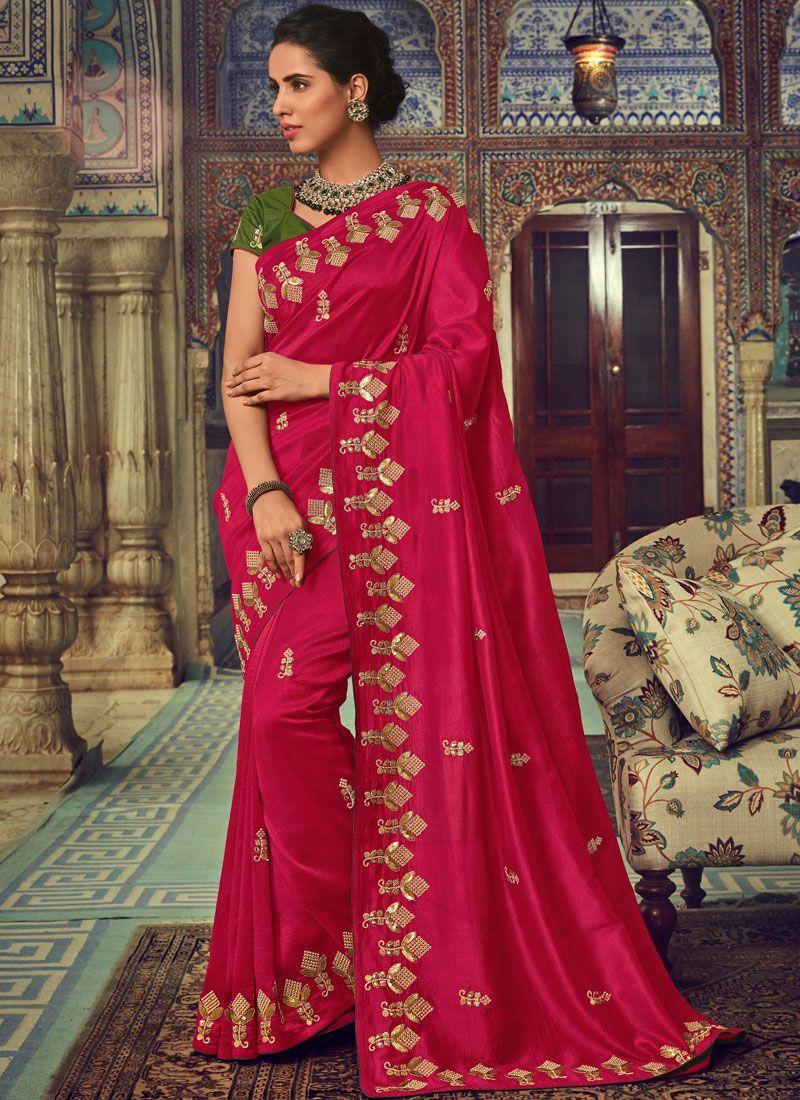 Silk Embroidered Magenta Trendy Saree
