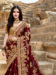 Silk Embroidered Maroon Designer Saree