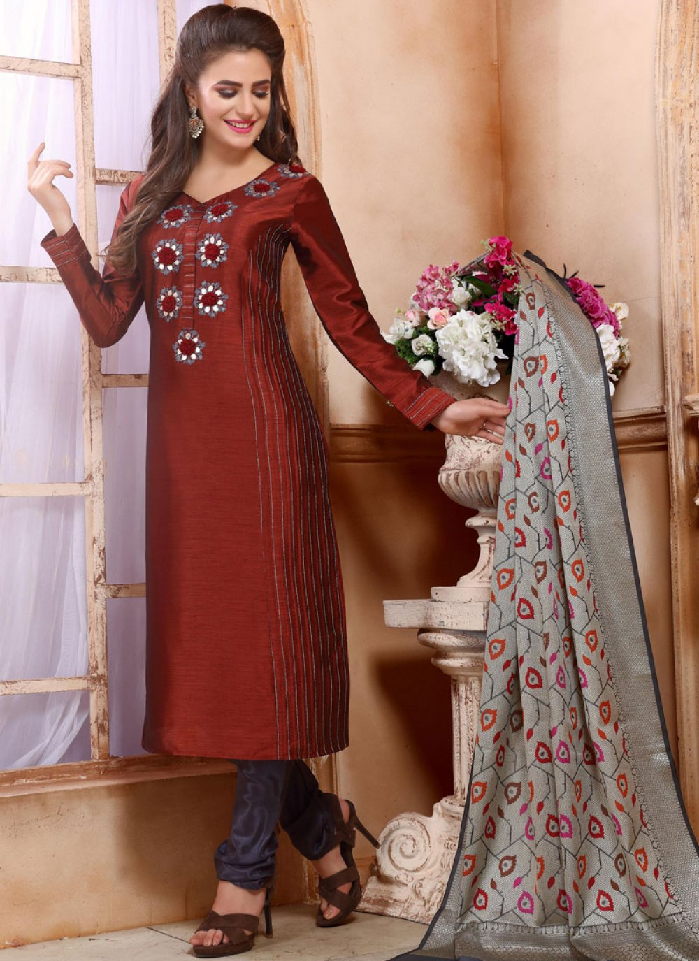 Silk Embroidered Maroon Trendy Churidar Salwar Suit