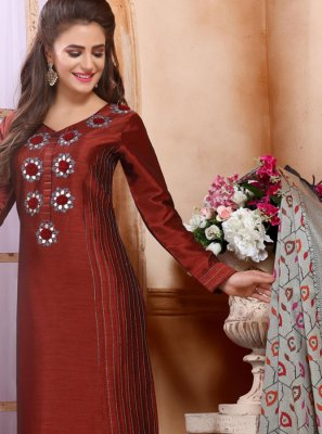 Silk Embroidered Maroon Trendy Churidar Salwar Suit