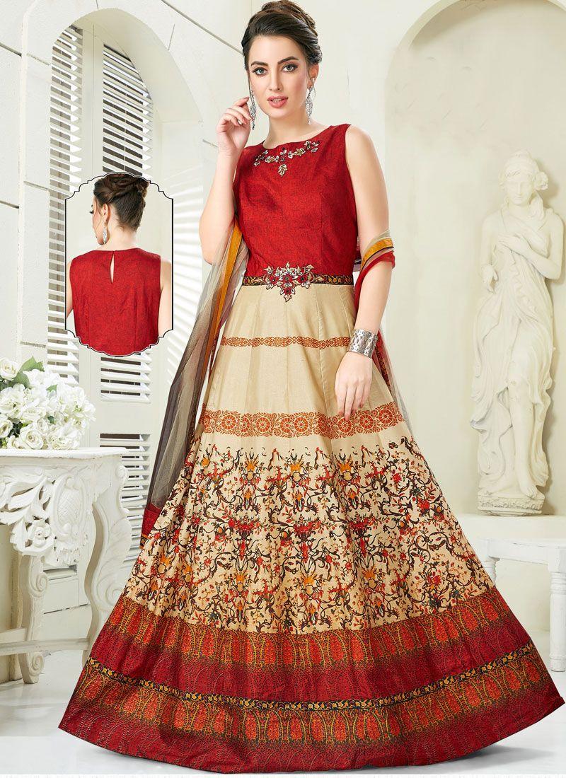 Silk Embroidered Multi Colour Trendy Anarkali Salwar Suit