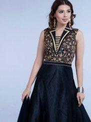 Silk Embroidered Navy Blue Desinger Anarkali Salwar Kameez