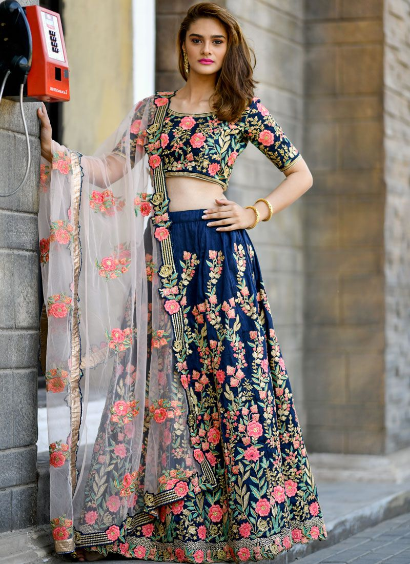 Silk Embroidered Navy Blue Trendy Lehenga Choli