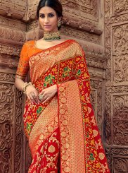 Silk Embroidered Orange and Red Trendy Saree