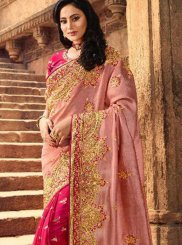 Silk Embroidered Pink Trendy Saree