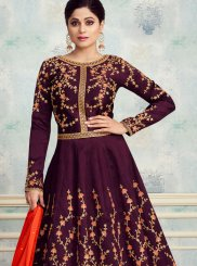 Silk Embroidered Purple Anarkali Salwar Suit