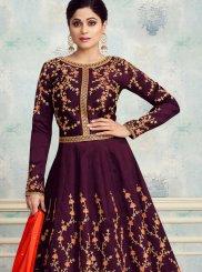 Silk Embroidered Purple Anarkali Salwar Suit