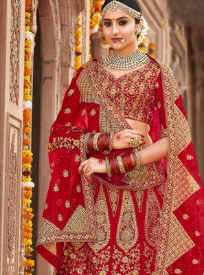 Silk Embroidered Red A Line Lehenga Choli