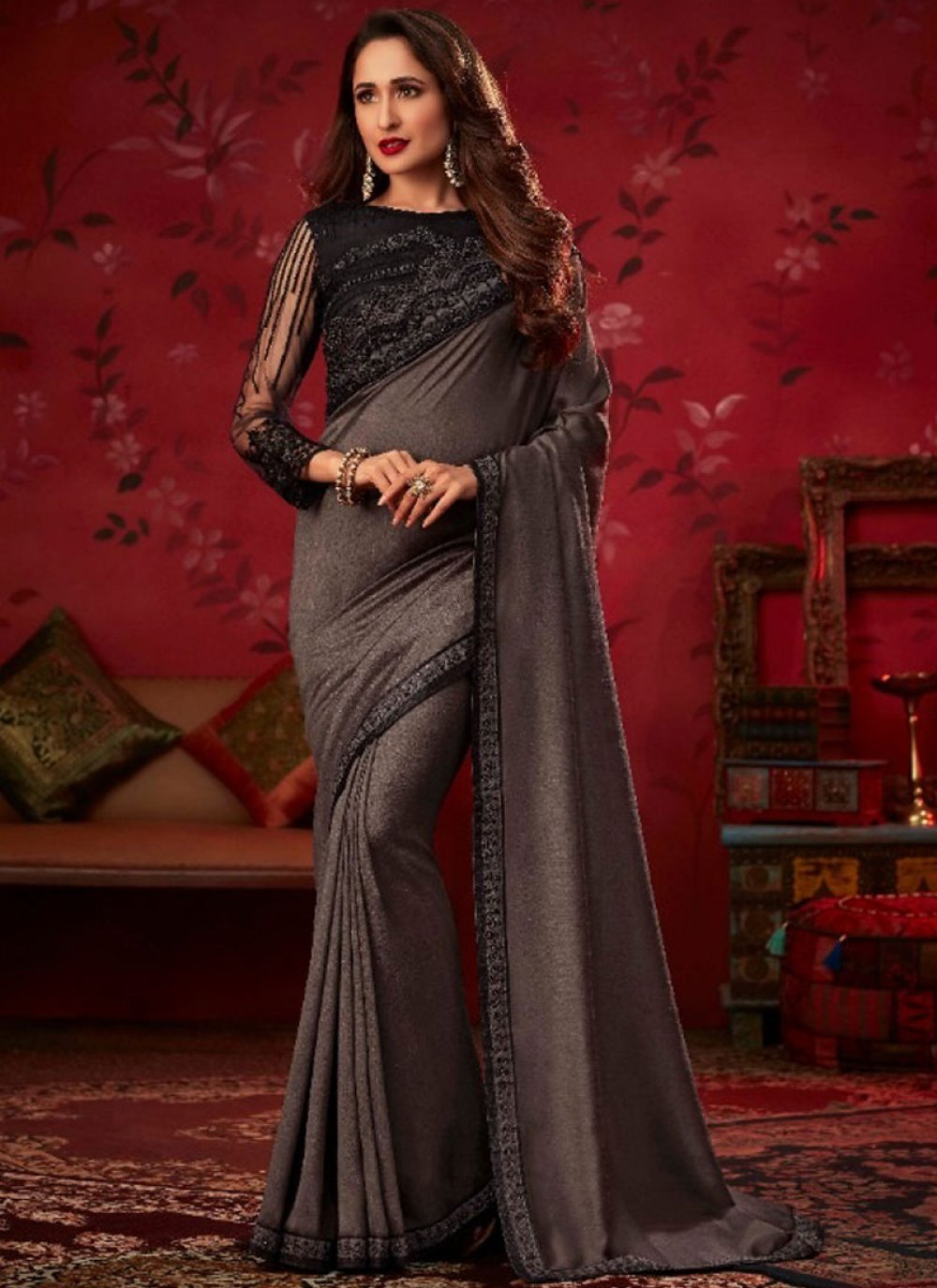 Silk Embroidered Silk Saree in Black and Grey