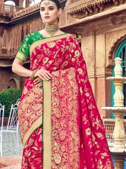 Silk Embroidered Silk Saree in Red