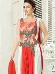 Silk Embroidered Trendy Designer Salwar Suit in Off White and Orange