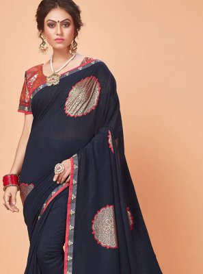Silk Embroidered Trendy Saree in Grey