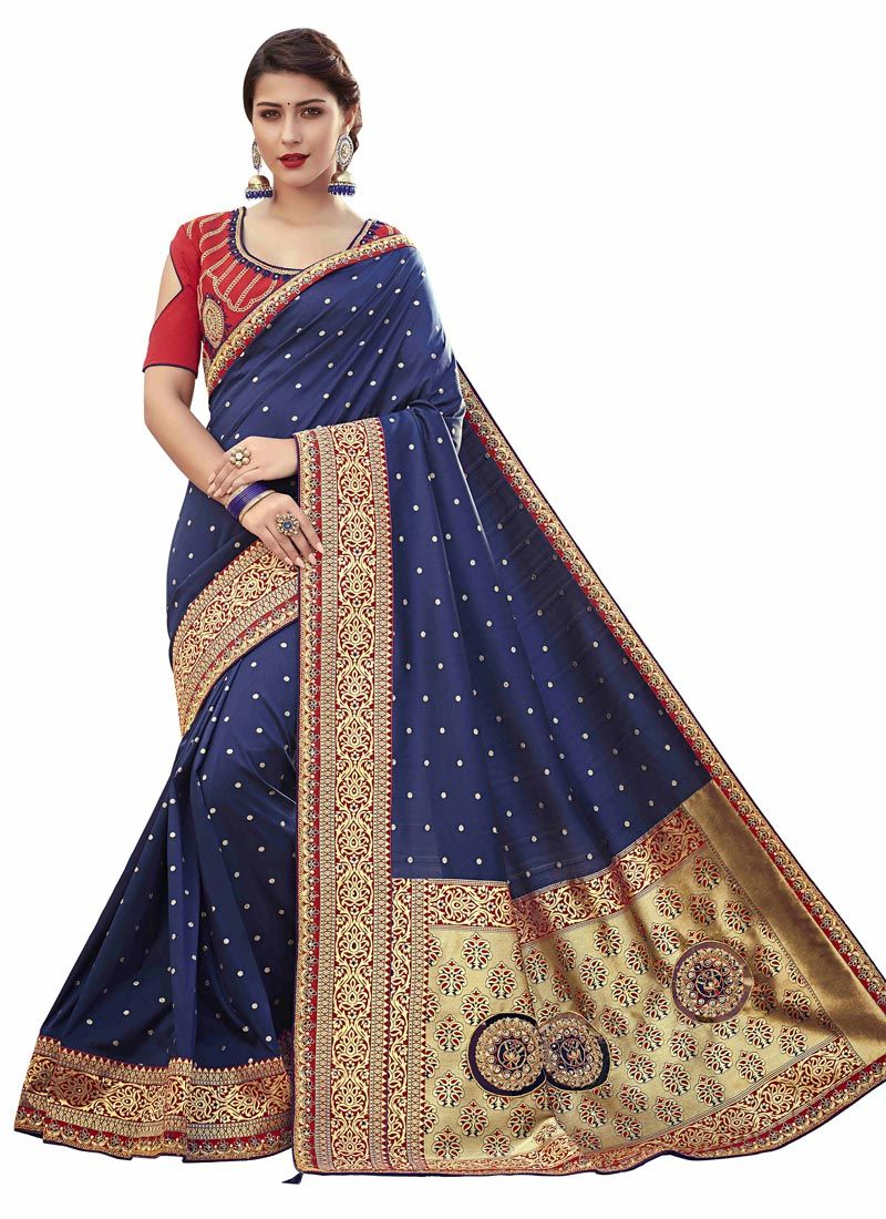 Silk Embroidered Violet Classic Saree