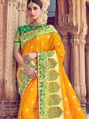 Silk Embroidered Yellow Classic Saree