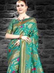 Silk Green Abstract Print Designer Saree