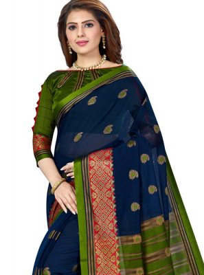 Silk Green and Navy Blue Weaving Casual Saree
