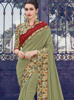 Silk Green Border Designer Saree