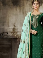 Silk Green Churidar Designer Suit