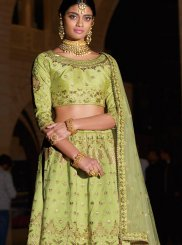 Silk Green Designer A Line Lehenga Choli