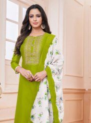 Silk Green Embroidered Churidar Salwar Suit