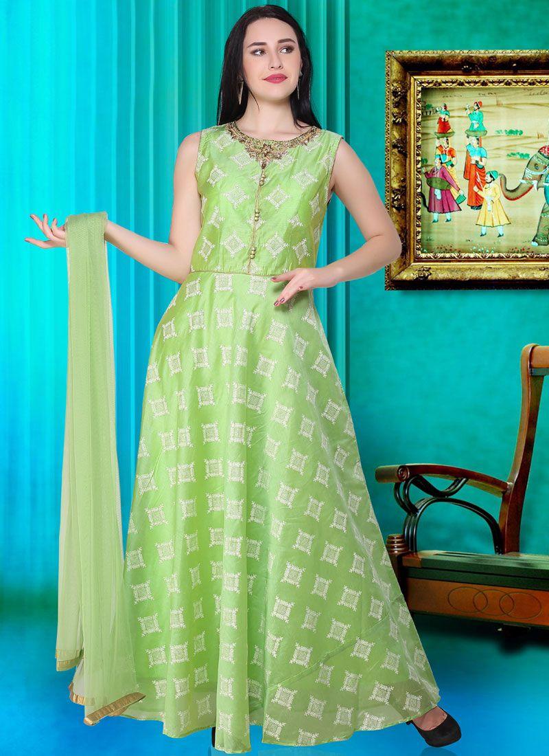 Silk Green Readymade Designer Gown