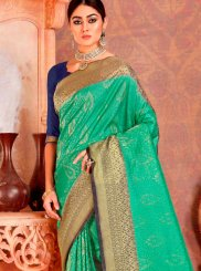 Silk Green Weaving Classic Designer Saree