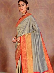 Silk Grey Weaving Classic Saree