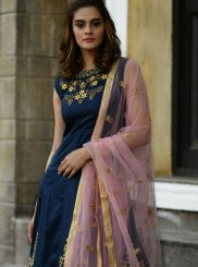 Silk Handwork Designer Gown in Navy Blue