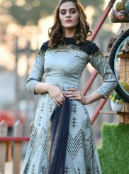 Silk Handwork Grey Trendy Gown