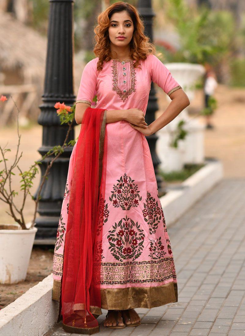Silk Handwork Pink Designer Gown