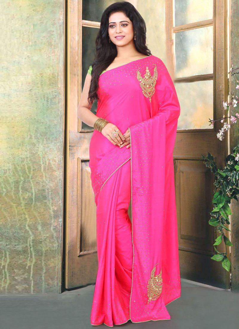 Silk Handwork Pink Designer Traditional Saree