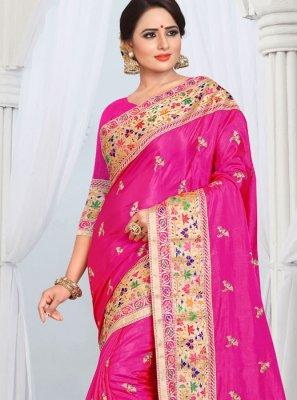 Silk Hot Pink Border Designer Saree
