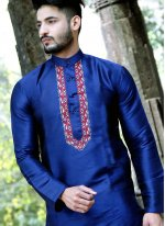 Silk Kurta Pyjama in Blue