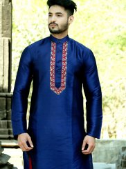 Silk Kurta Pyjama in Blue