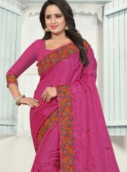 Silk Magenta Embroidered Trendy Saree