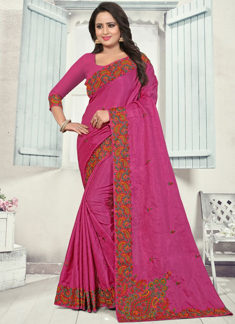 Silk Magenta Embroidered Trendy Saree