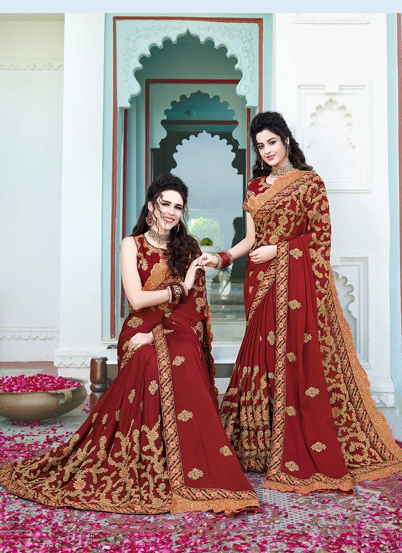 Silk Maroon Embroidered Classic Saree