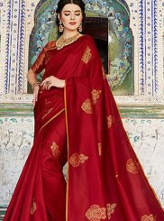 Silk Maroon Trendy Saree
