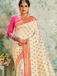Silk Off White Designer Saree